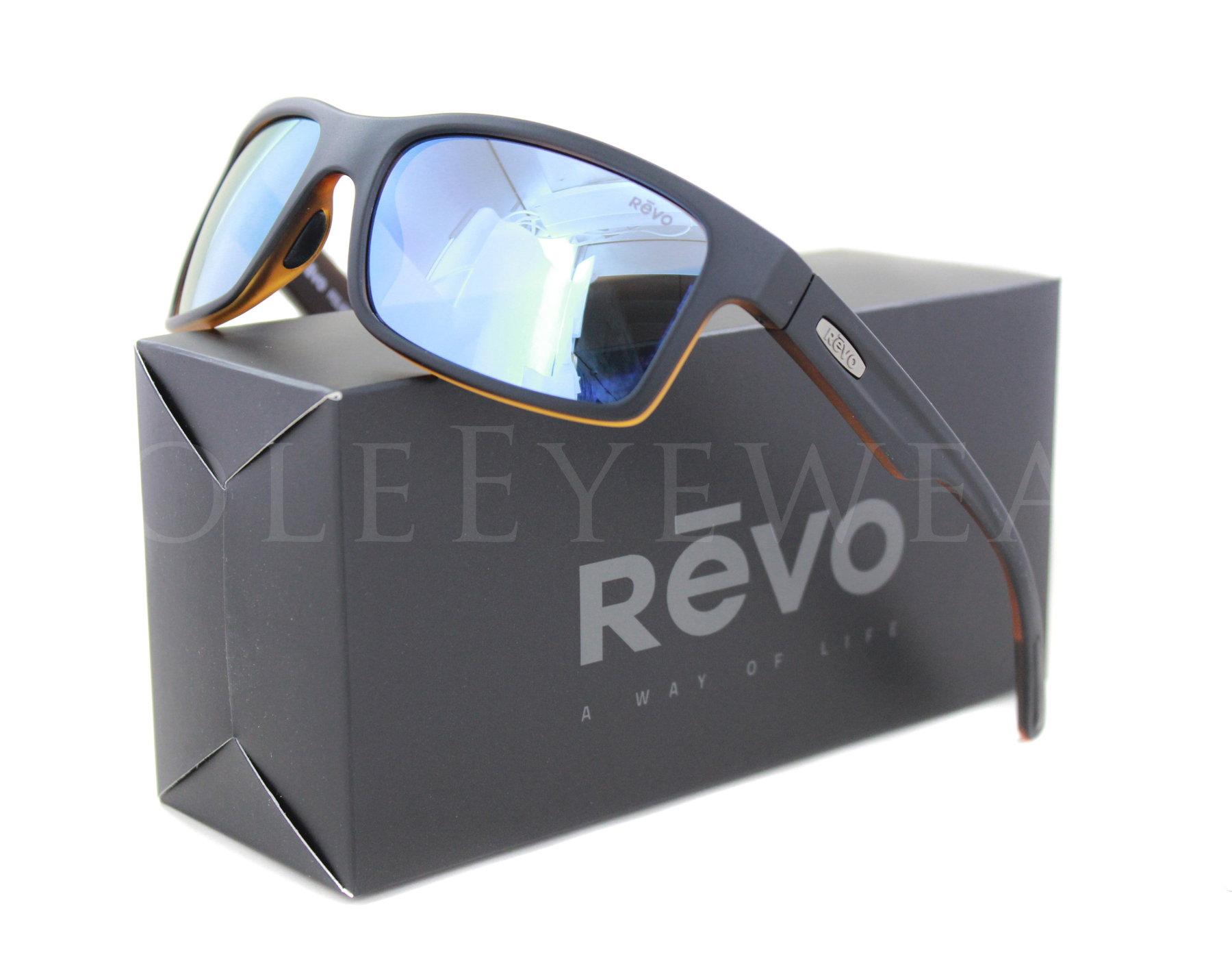 f307bc4f7d Details about NEW Revo 1027 01 BL Crawler Matte Black Tortoise Blue  Sunglasses