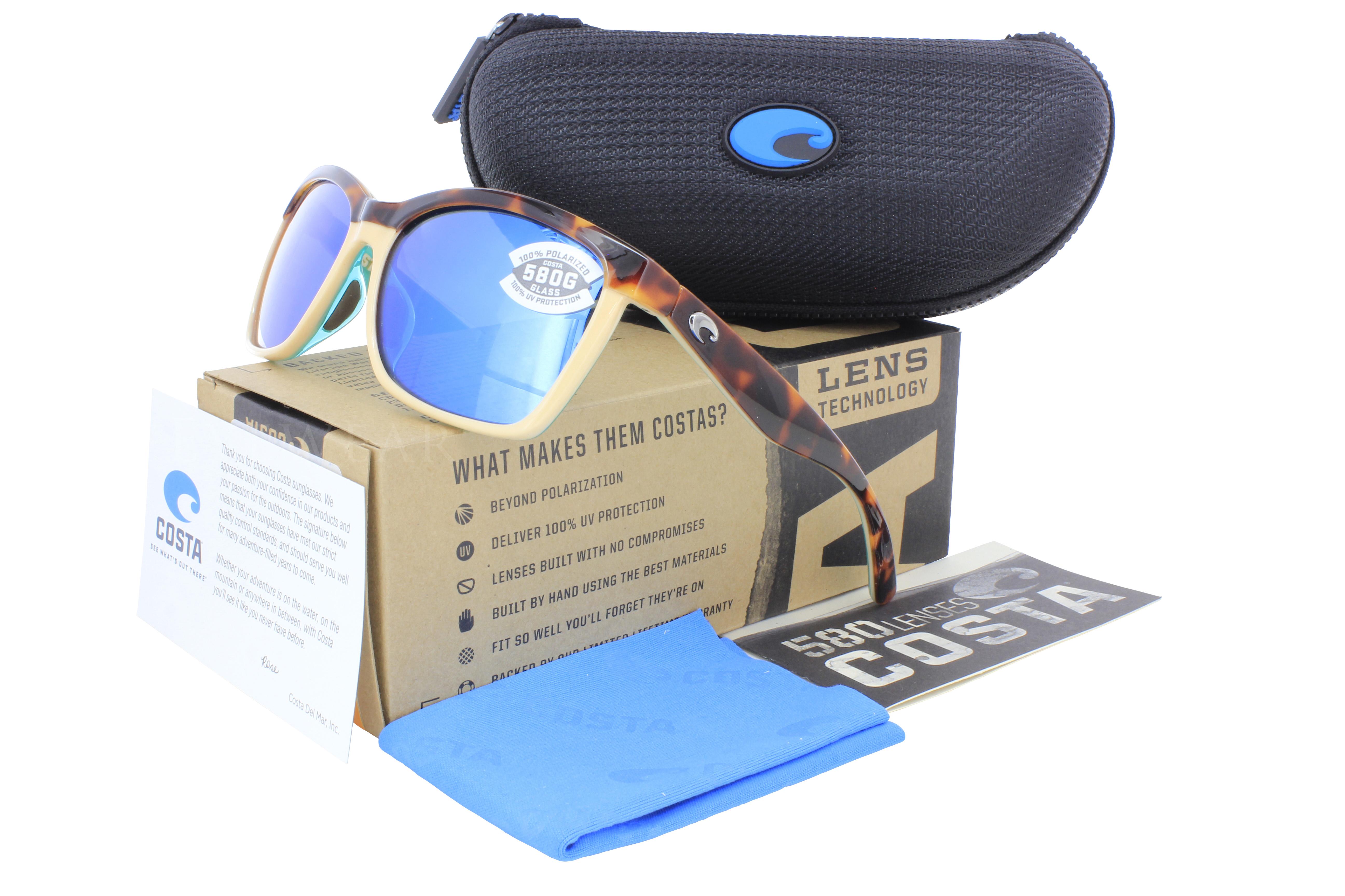 6ab20ce34b9 NEW Costa Del Mar Anaa Shiny Tortoise Cream   Blue 580G Sunglasses ...