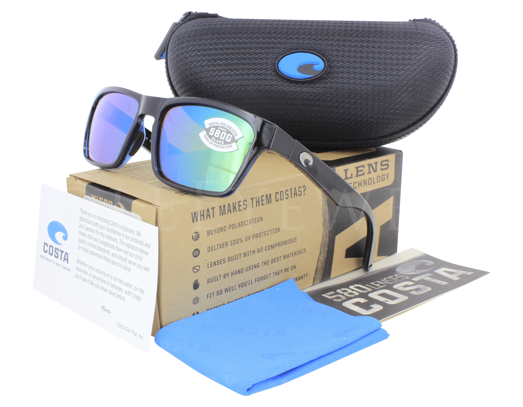 4cfb83cce03 Details about NEW Costa Del Mar Hinano Shiny Black   Green Mirror  HNO11-OGMGLP580G Sunglasses