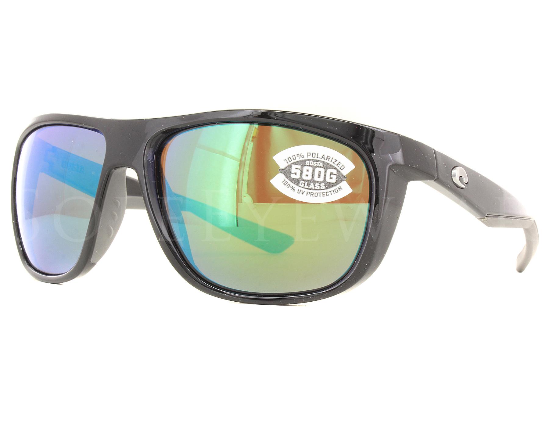 2210b86b65 Details about NEW Costa Del Mar Kiwa Shiny Black Green Mirror  KWA11-OGMGLP580G Sunglasses