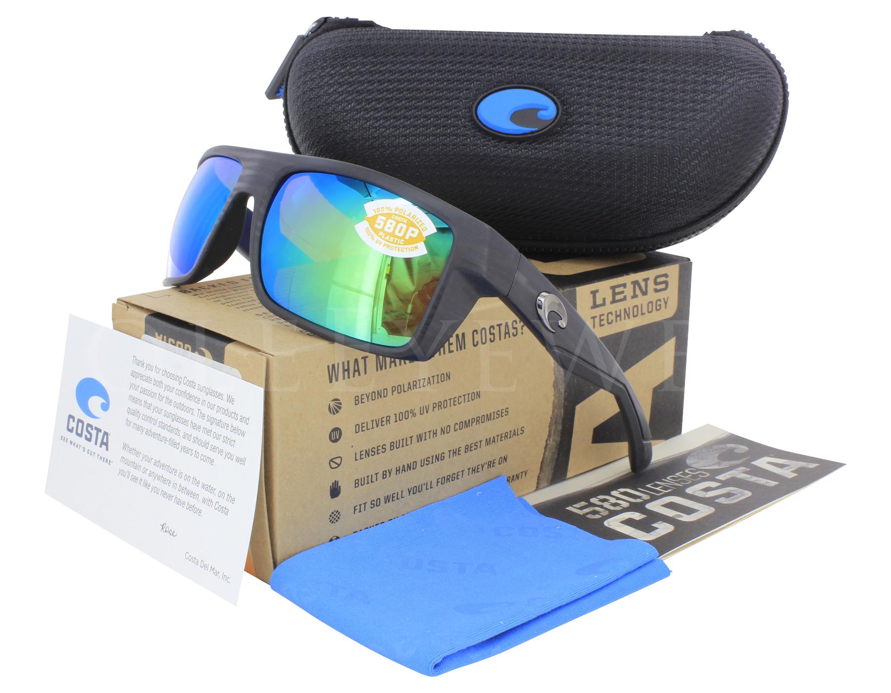 0c6a96a4ad931 Details about NEW Costa Del Mar Motu Matte Black Teak Green Mirror MTU111  OGMP 580P Sunglasses