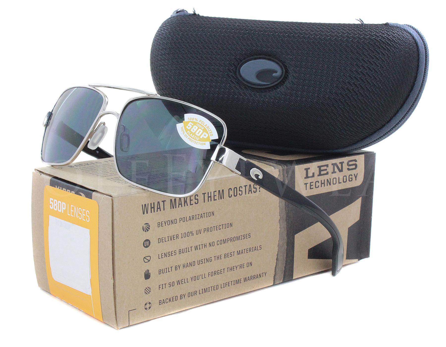 90feefc0ee25c Details about NEW Costa Del Mar North Turn Palladium   Shiny Black  NTN21-OGP580P Sunglasses