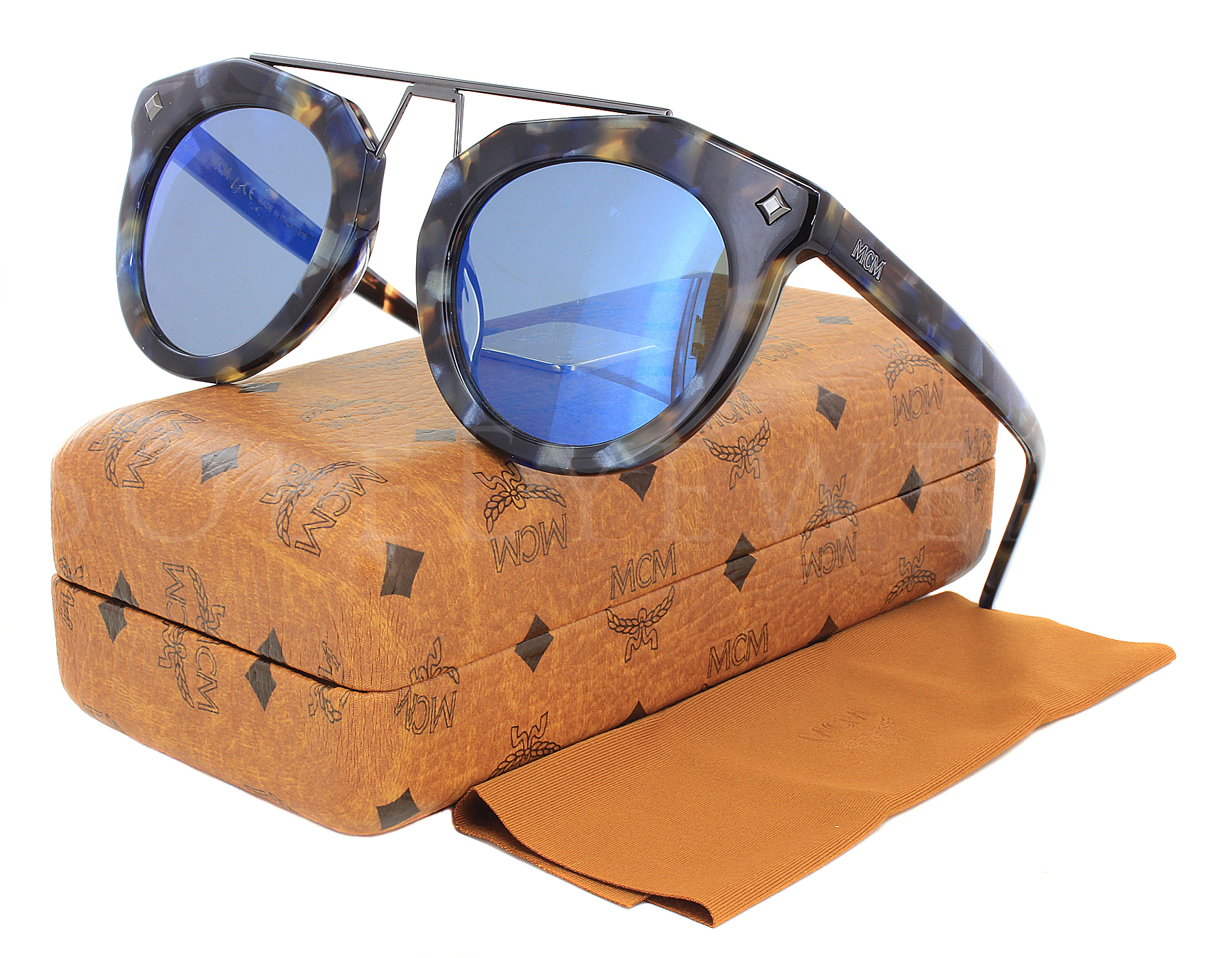 05832c902c6 Details about NEW MCM 636S 235 49mm Havana Blue   Blue Mirror Sunglasses