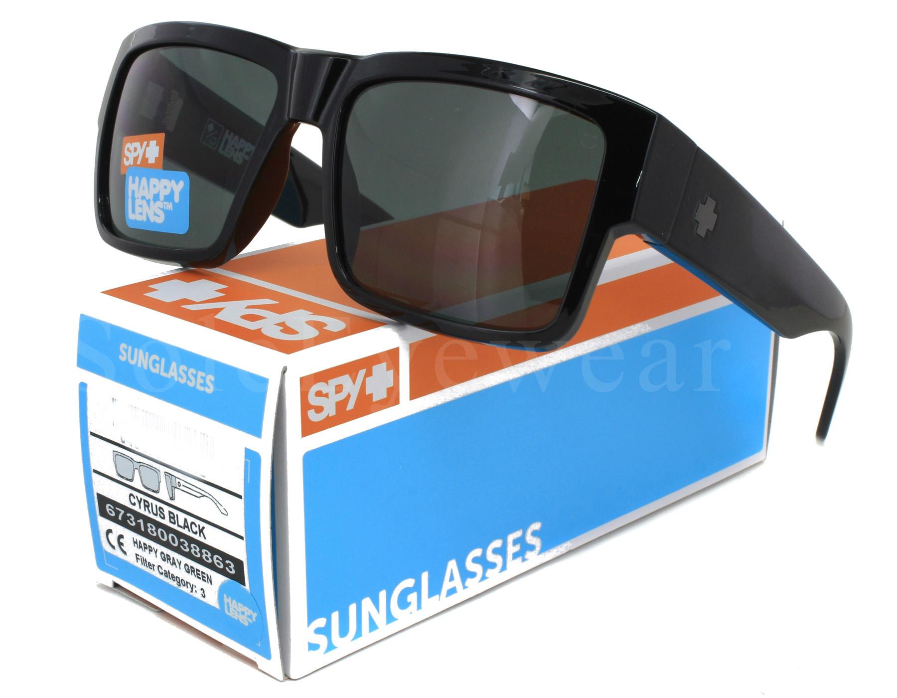 1573cedca9 Details about NEW Spy Optics Cyrus 673180038863 Black   Happy Grey Green  Sunglasses