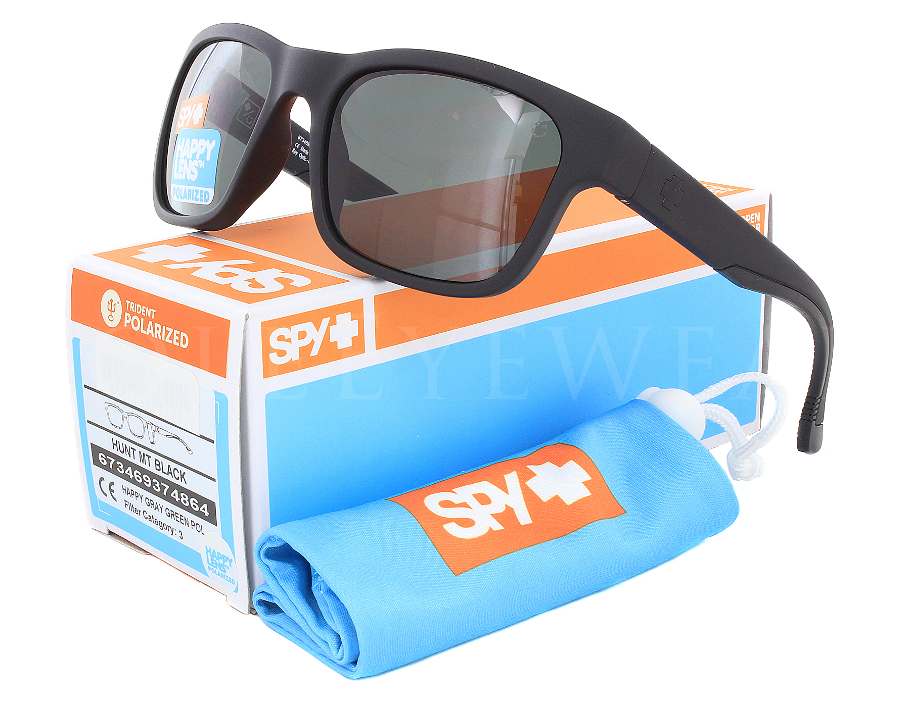 622f798c7e4 Details about NEW Spy Optics Hunt Matte Black   Happy Gray Green  673469374863 Sunglasses