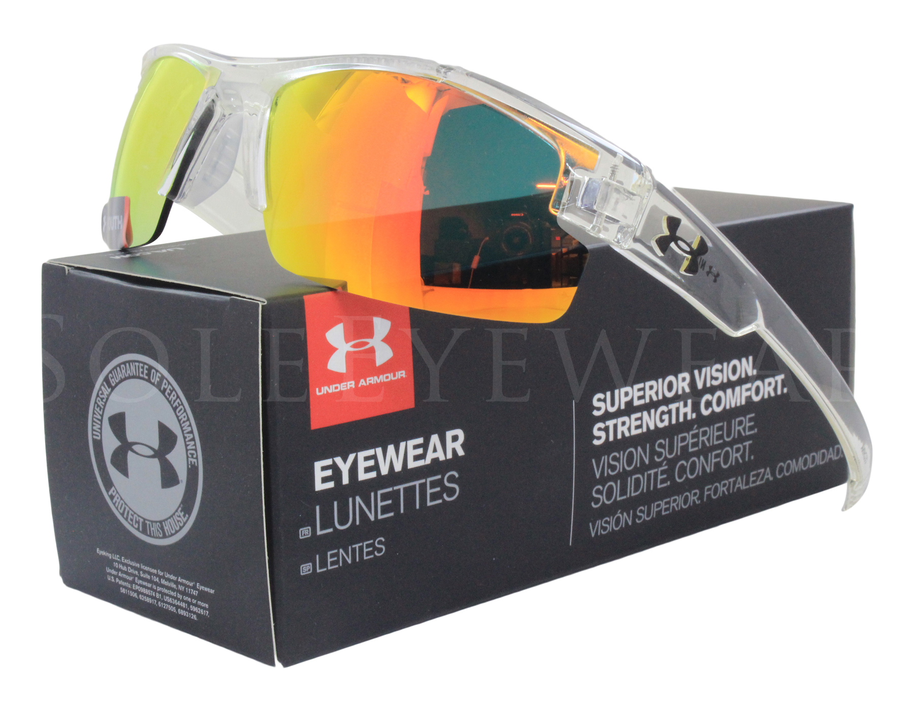 40bbd62d61 Details about NEW Under Armour Nitro L Shiny Crystal Clear   Orange 8600048-141441  Sunglasses