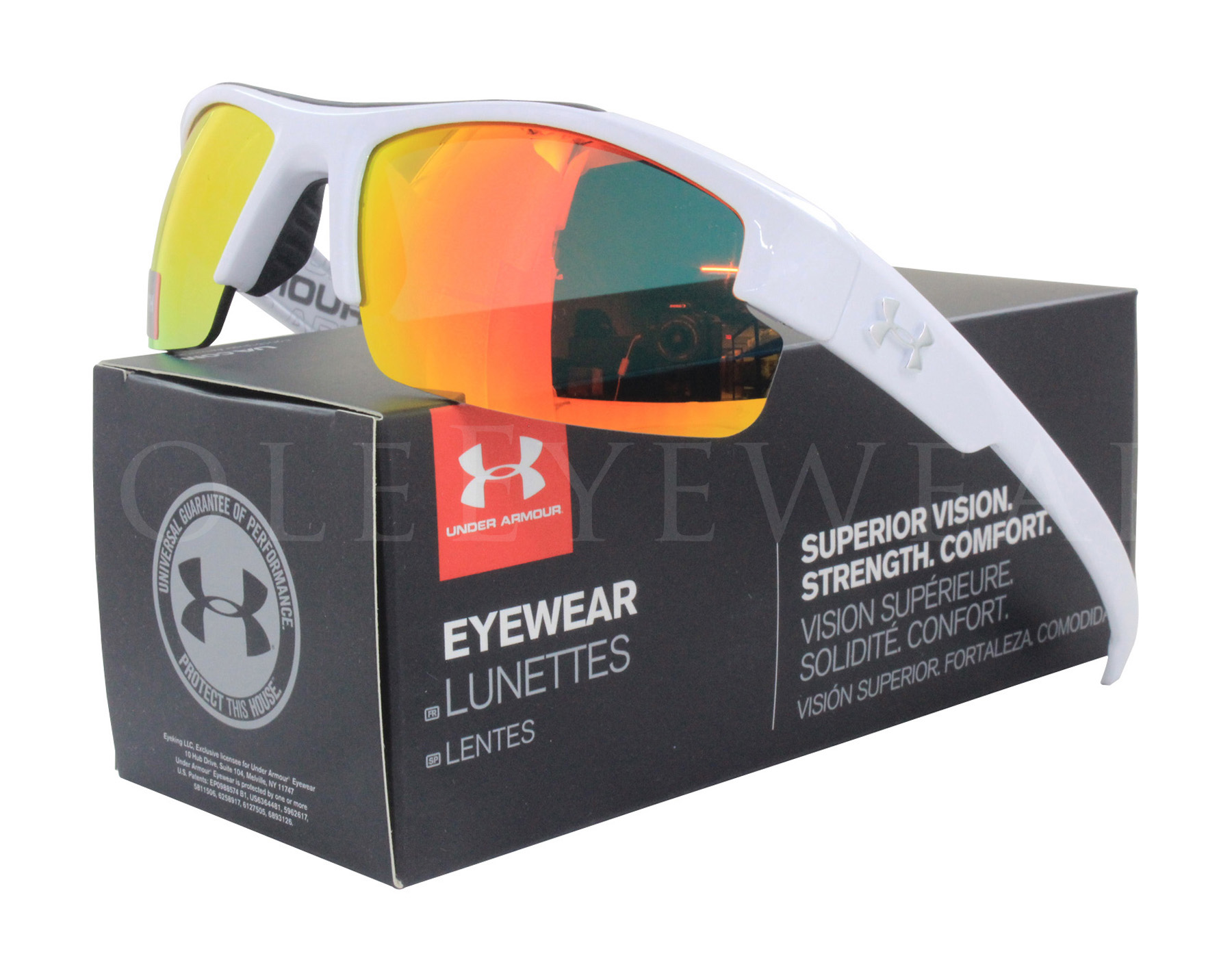 b1a92b72bd Details about NEW Under Armour Nitro L Shiny White   Orange 8600048-108841  Sunglasses