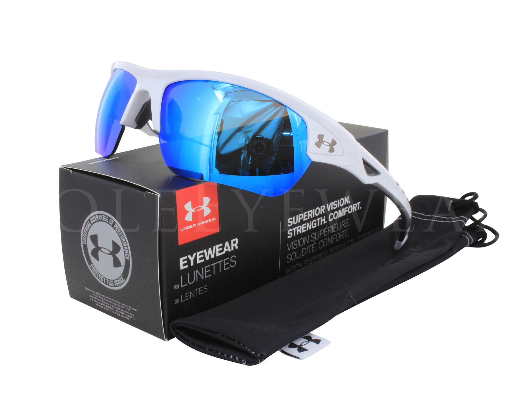 0f3ee0f6e5 Details about NEW Under Armour Octane Shiny White   Gray Blue 8600094  100961 Sunglasses